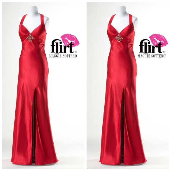 Dresses | Ruby Red Satin Prom Pageant Dress | Poshmark